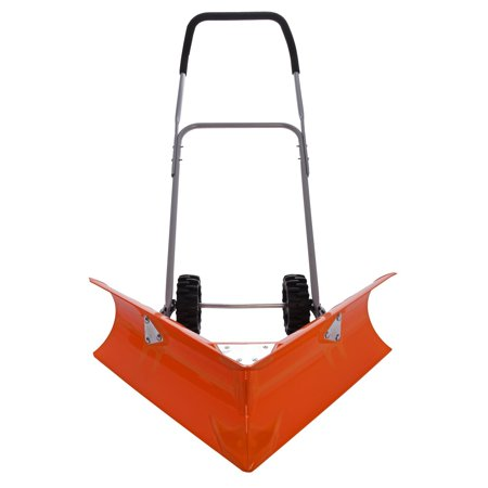 Ivation Dual Angle Snow Pusher  Manual Push Plow for Walkways, Sidewalks, Stoops, Decks, Patios & More
