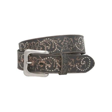 "Snap On 1 1/2"" Soft Hand Vintage Cowhide Full Grain Leather Floral Embossed Rivet Studded Casual Belt"