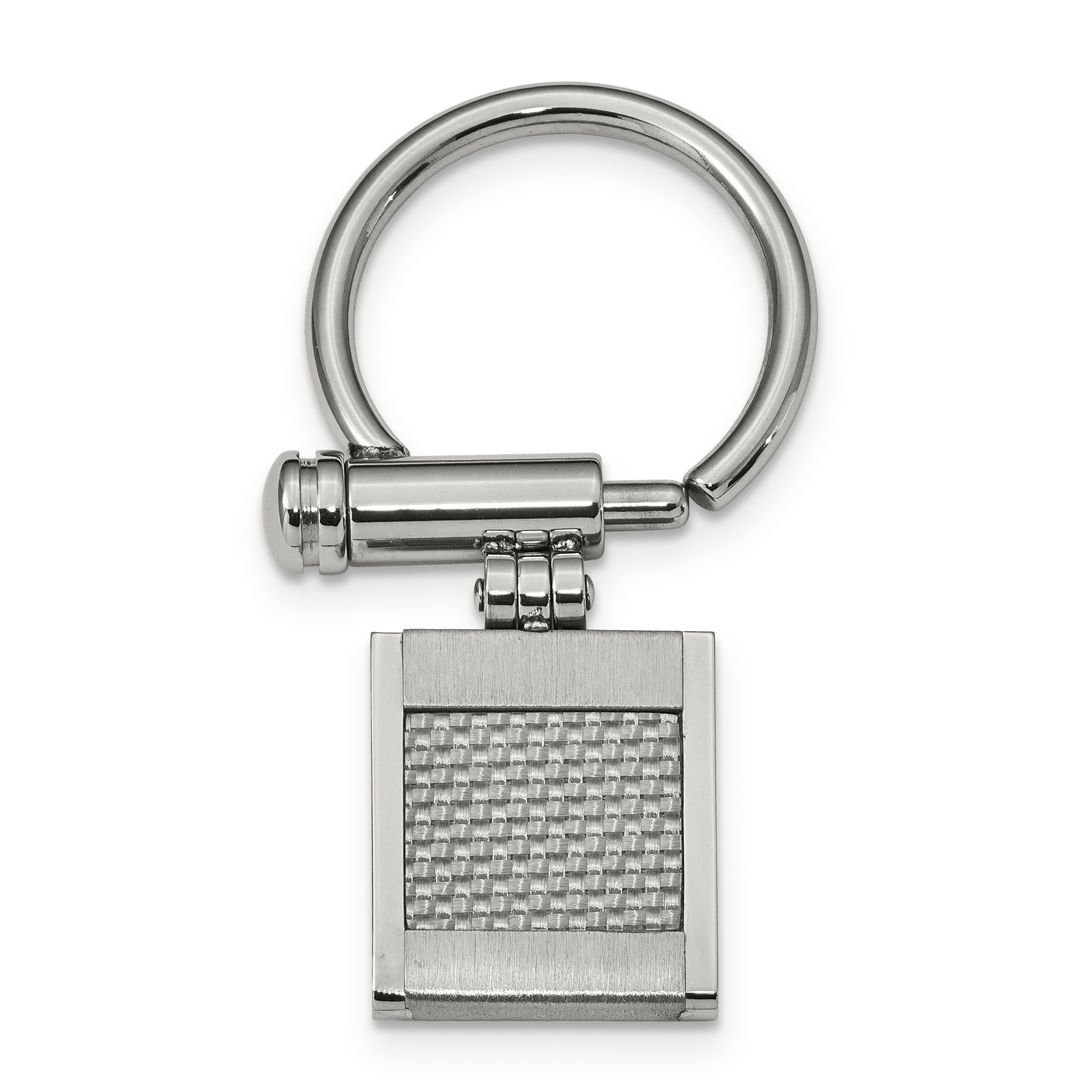 Stainless Steel Brushed and Polished Grey Carbon Fiber Inlay Key Ring by CoutureJewelers