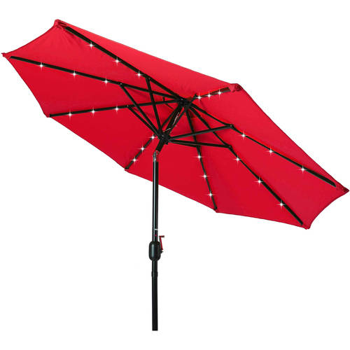 Deluxe Solar Powered LED Lighted Patio Umbrella, 8', by Trademark Innovations by Trademark Innovations
