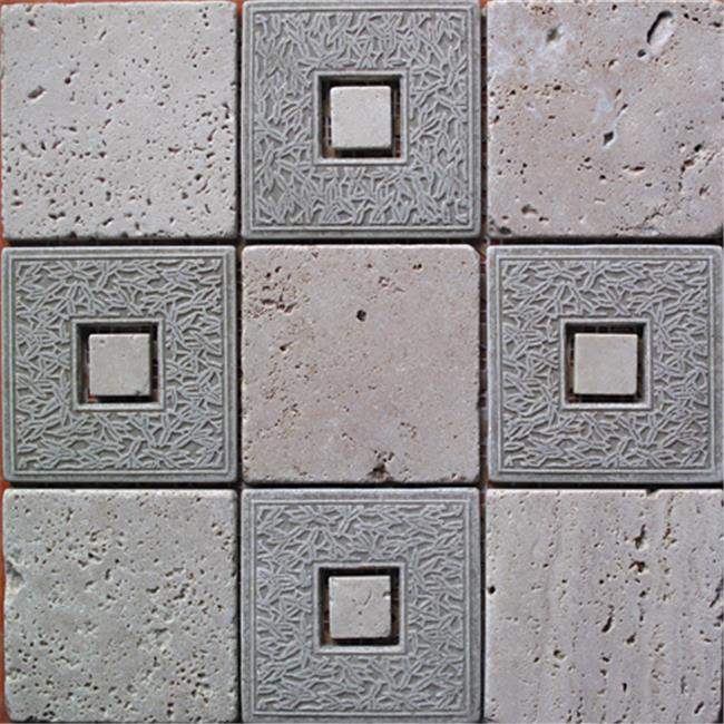 Intrend Tile 4 x 4 Classic Geo Travertine Square Gray And Tan Mixed