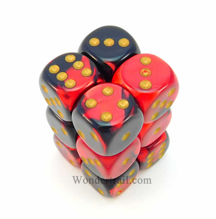Black and Red Gemini Dice with Gold Pips D6 16mm (5/8in) Pack of 12 Chessex