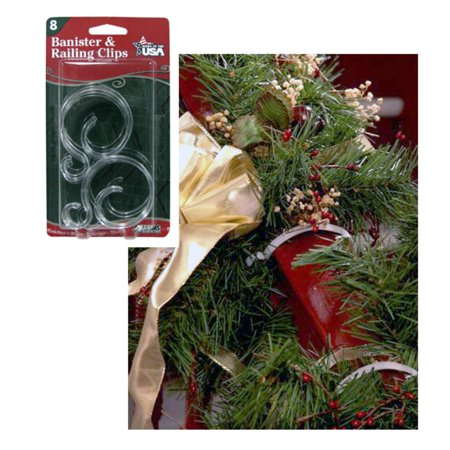 pack of 8 banister railing clips for christmas decorations - Banister Christmas Decorations