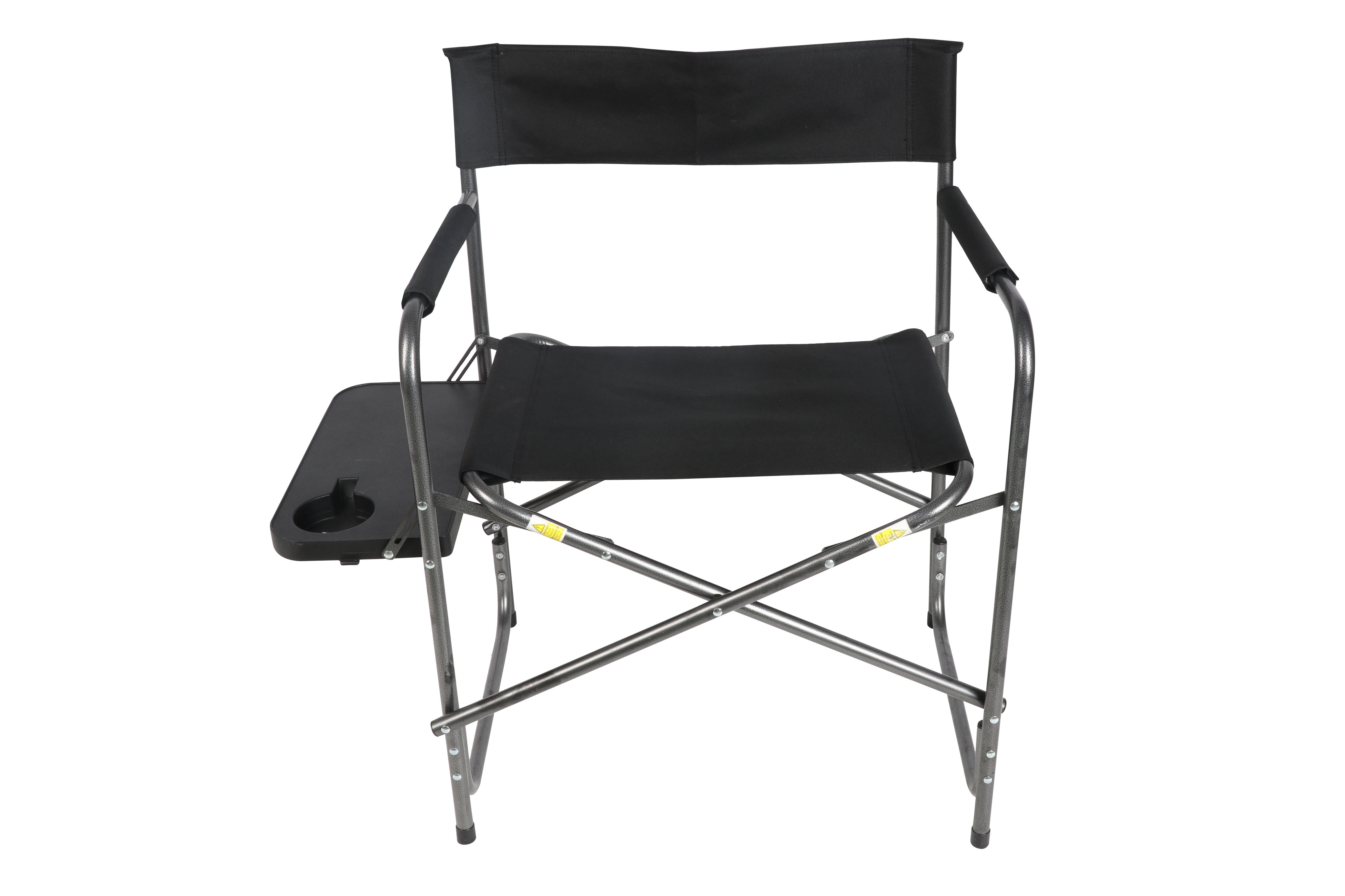 Ozark Trail Directoru0027s Chair With Foldout Side Table, Black