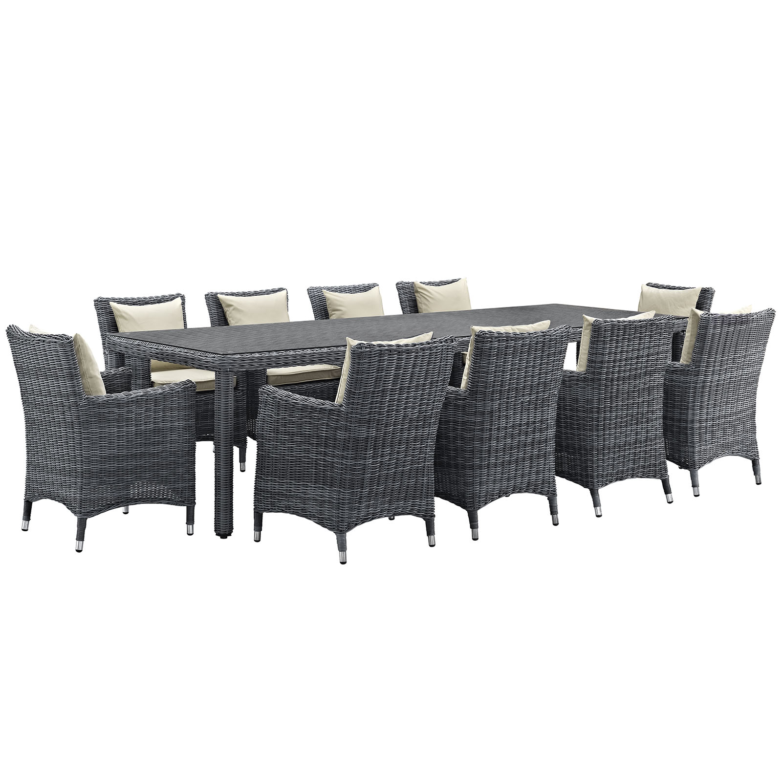 Modern Contemporary Urban Design Outdoor Patio Balcony Eleven PCS Dining Chairs and Table Set, Beige, Rattan