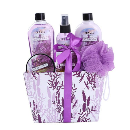 Spa Basket for Women with Refreshing ?LAVENDER? Fragrance by Draizee ? Luxury Lilac Color Skin Care Set Includes Shower