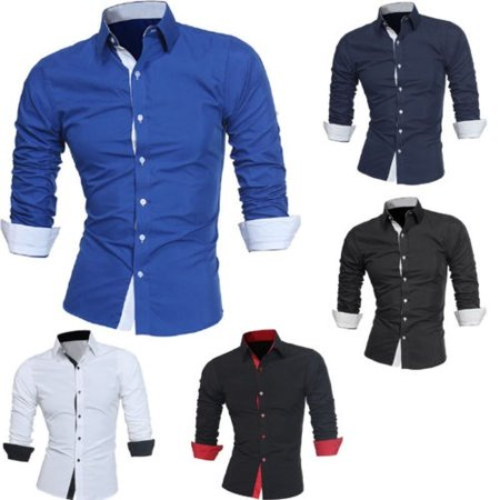 Mens Slim Fit Long Sleeve Cotton Shirt Casual Button Business Dress T-Shirt Tops - image 3 of 5