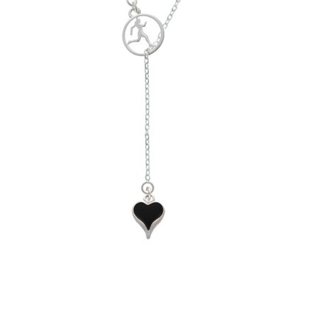 Long Lariat - Small Long Black Heart Runner Disc Lariat Necklace