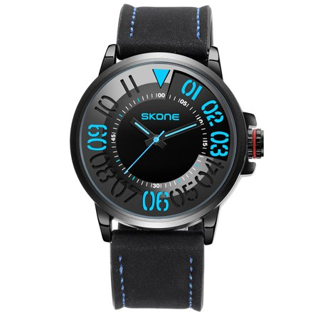 SKONE Men Watch Quartz Movement Digital Dial Wrist Watch PU Leather Strap Waterproof Sport Watch for Men