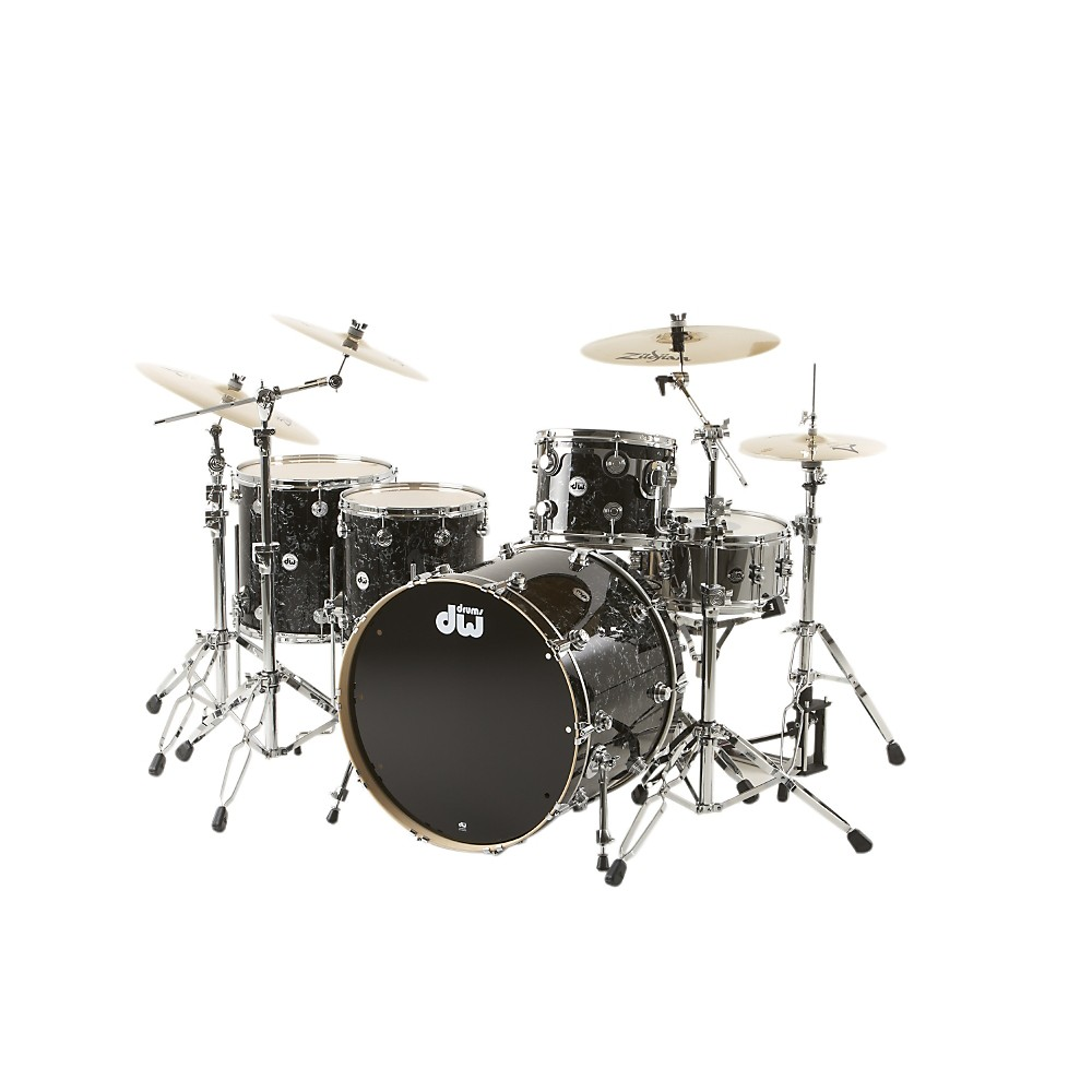 "DW Collector's Series 4-Piece Shell Pack w 24"" Bass Drum Black Velvet Chrome Hardware by DW"