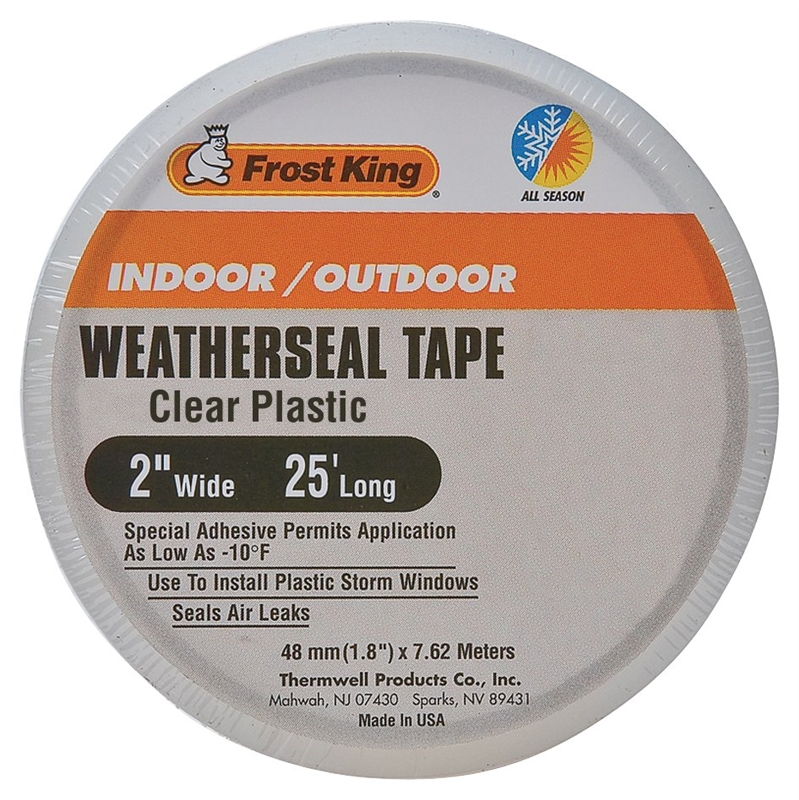 """8093403,WEATHERSEAL TAPE,PLASTIC - COLD FORMULA """"FROST KING"""" Wdth In x Lgth Ft=2 x 25,Color=Clear"""