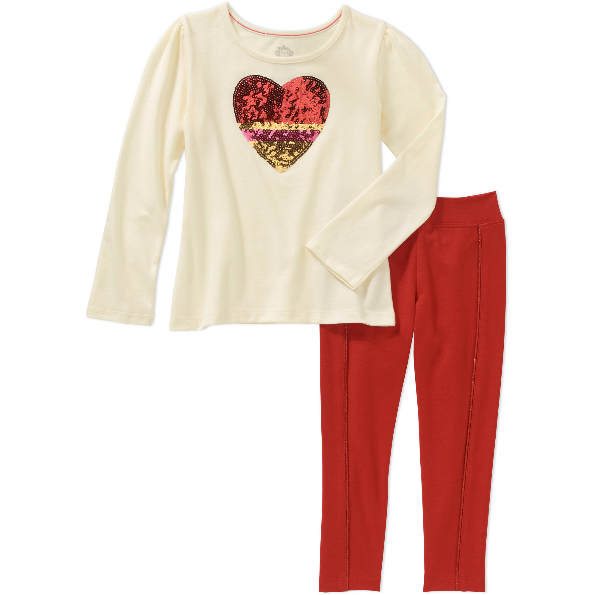 365 Kids from Garanimals Girls' Long Sleeve Heatseal Tee and Solid Leggings with Piping Outfit Set