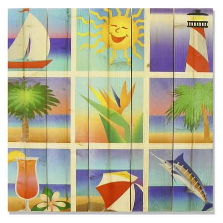 Gizaun Art Summer Beach Squares Indoor Outdoor Wall Art
