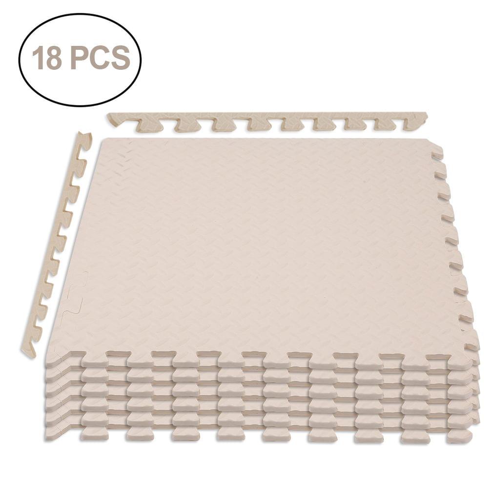 """Foam Mat Floor Tiles, Interlocking Ultimate Comfort EVA Foam, Soft Flooring for Exercising, Yoga, Kids, Babies, Playroom and Camping(18 pack, 24"""" x 24"""" x 3/8"""")"""