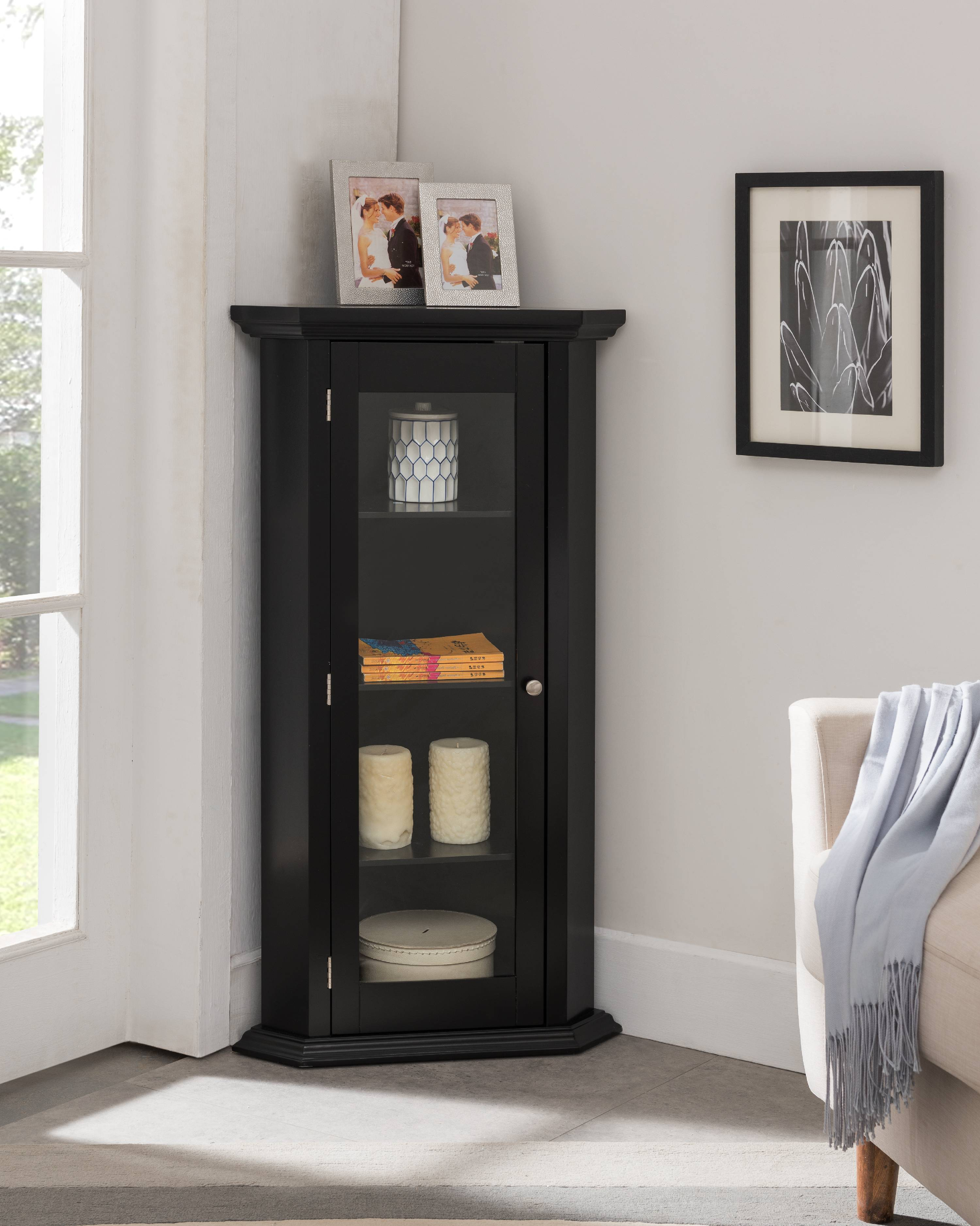 Didan Black Wood Contemporary Corner Curio Display Cabinet With 3 Storage Shelves Glass Doors