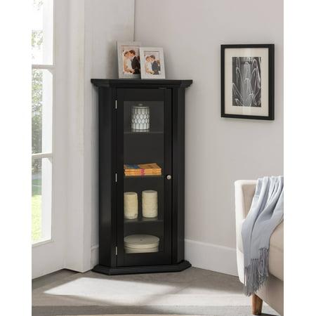 didan black wood contemporary corner curio display cabinet with 3 storage shelves glass doors. Black Bedroom Furniture Sets. Home Design Ideas