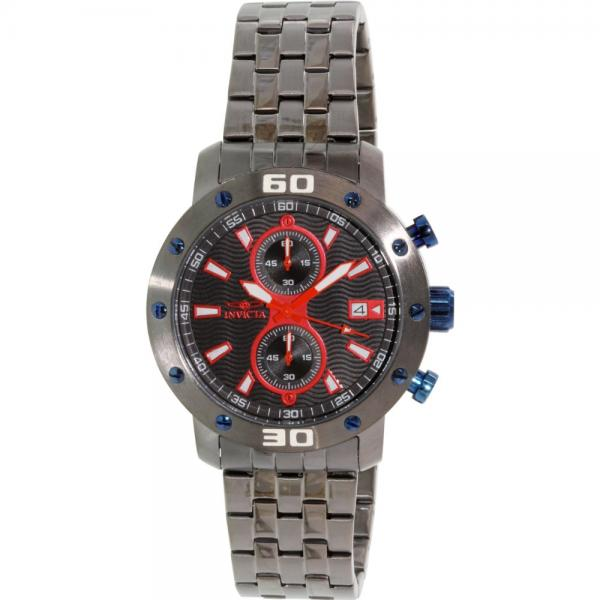 Mens Invicta 18183 Specialty Chrono Black & Red Textured Dial Steel Watch