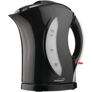 Brentwood 1.7 Liter Cordless Plastic Tea Kettle with Black Silver Handle (KT-1618)