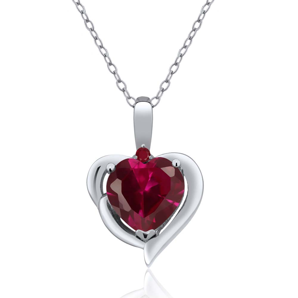 2.21 Ct Heart Shape Red Created Ruby Red Ruby 925 Sterling Silver Pendant