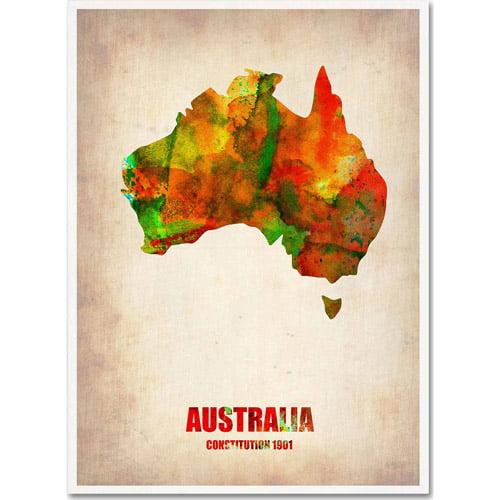 "Trademark Fine Art ""Australia Watercolor Map"" Canvas Art by Naxart"