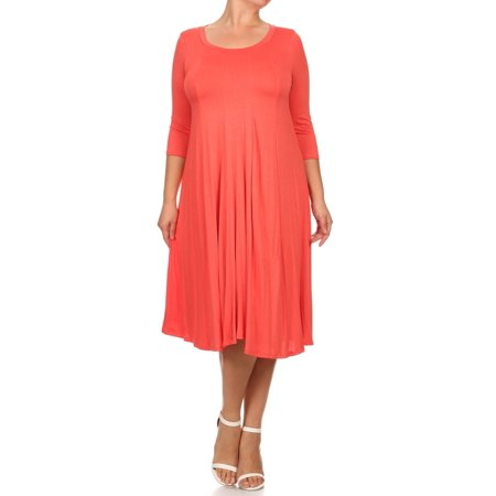 6201e526fc9a Moa Collection - MOA Collection Plus Size Women's 3/4 Sleeves solid dress -  Walmart.com