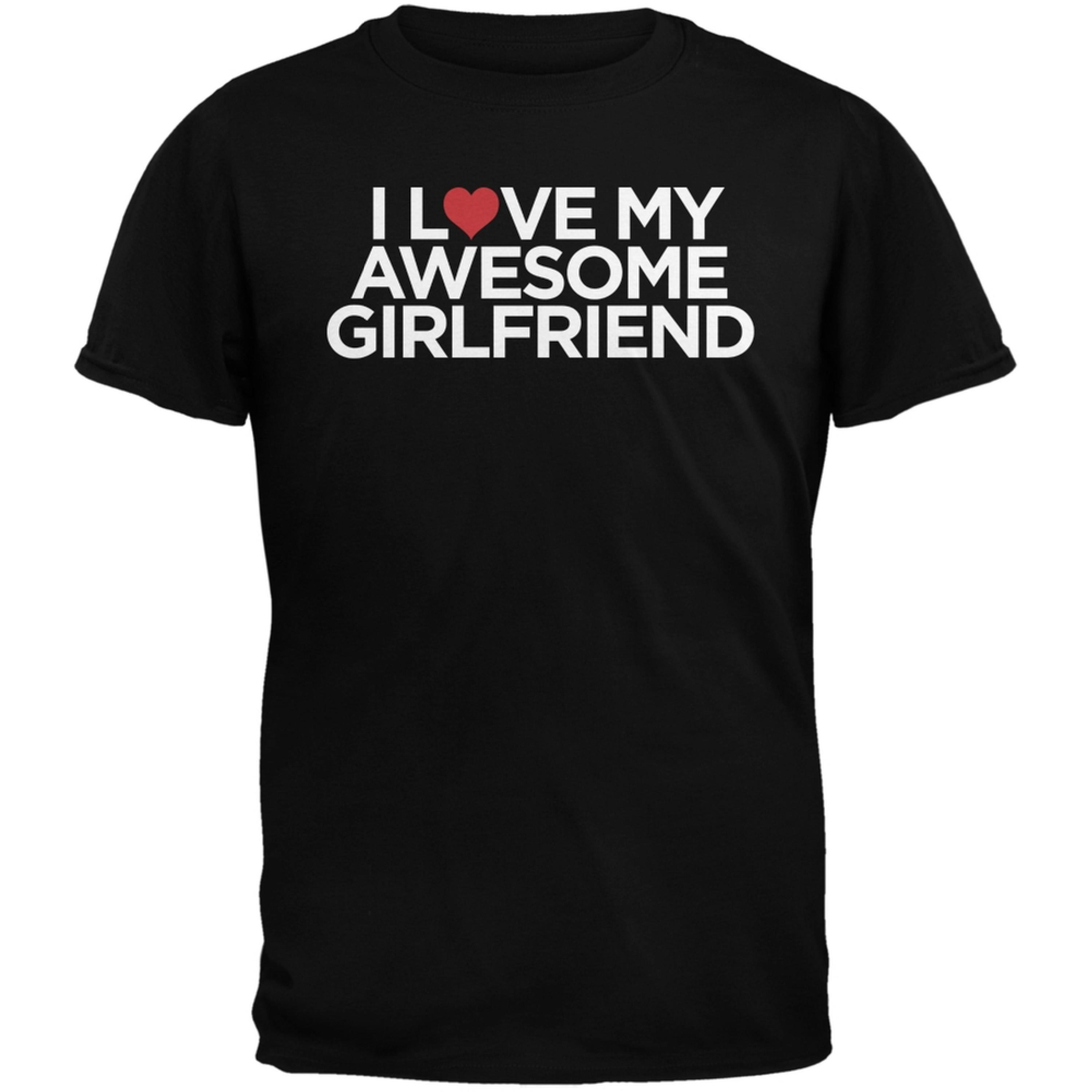 Valentine's Day - I Love My Awesome Girlfriend Black Adult T-Shirt
