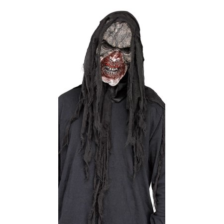 Burnt Charred Burning Dead Zombie White Mask And Shroud Mens Halloween - Day Of The Dead Halloween Masks
