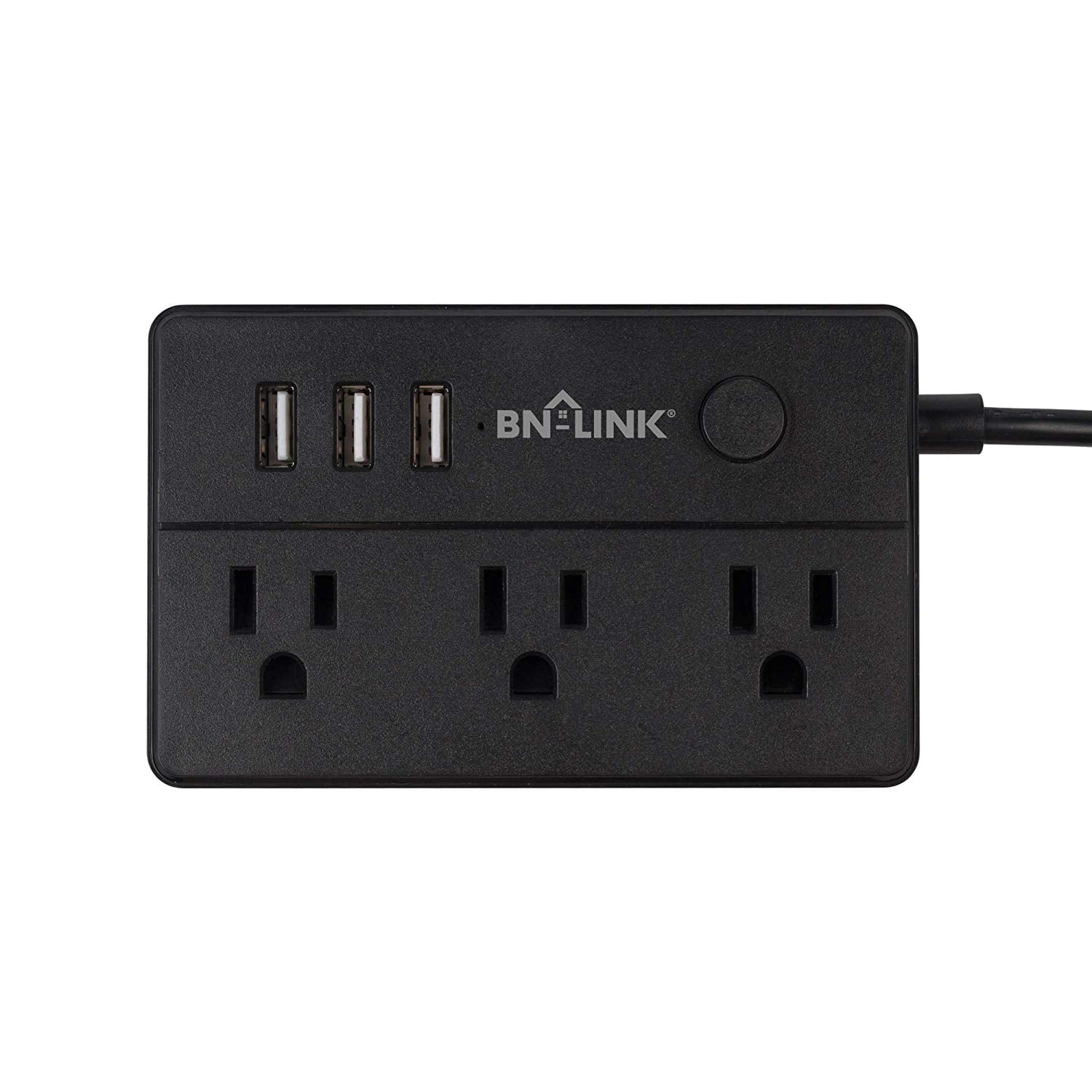 BN-LINK Mini Desk Power Strip with 2 Outlets and 3 USB Ports Black 5 Feet Cord