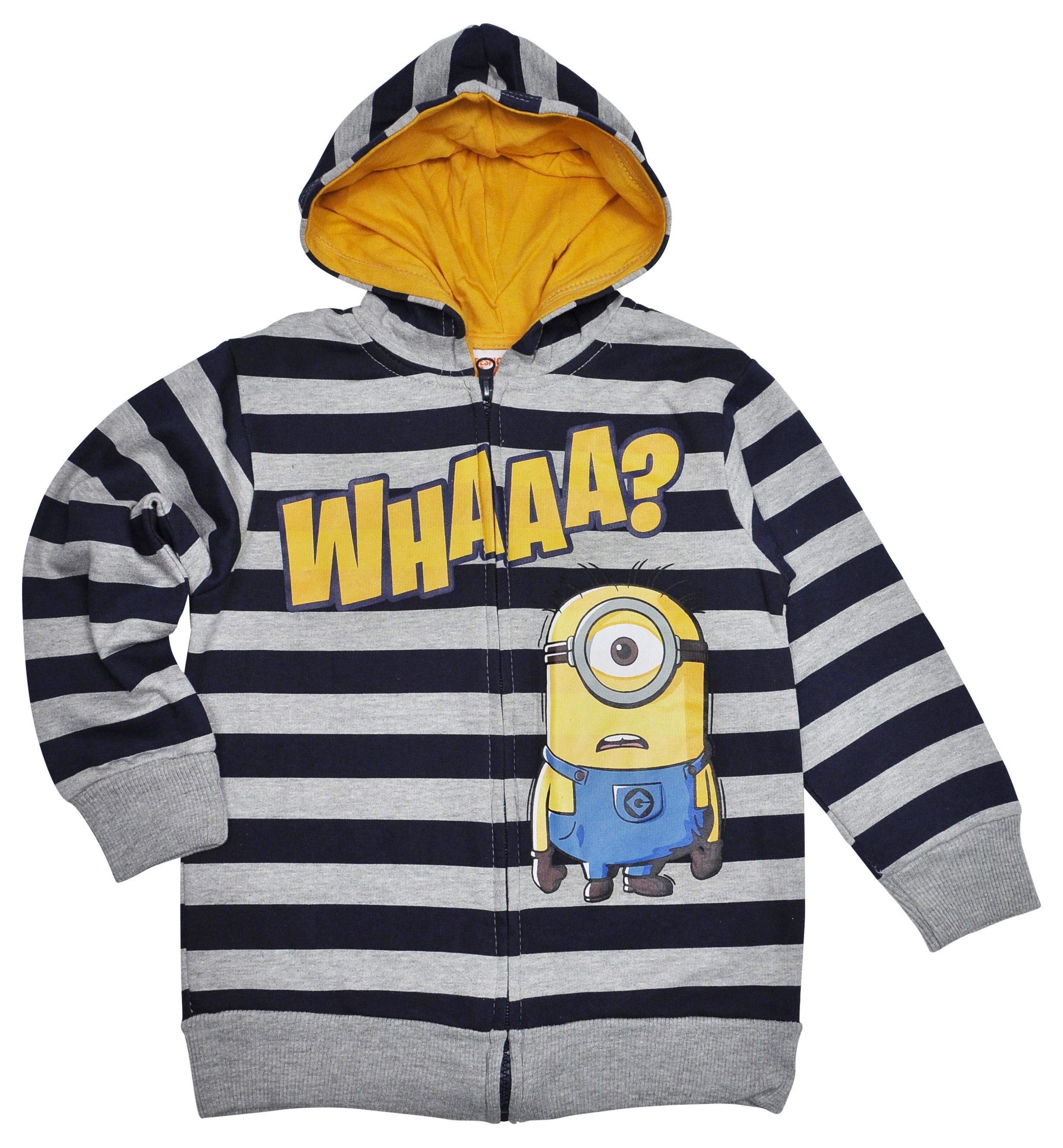 Minions Striped Boys Zip Hoodie Sweatshirt
