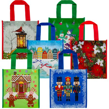 6 Pack Small Holiday Gift Tote Bags Reusable Material For Christmas Presents Cookies Candy Set, Festive and cute, reusable alternative to regular gift bags;.., By DG Home Goods