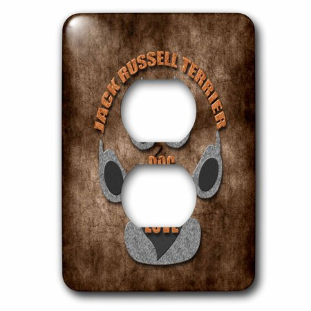 3dRose Jack Russell Terrier Dog Love Dog Breed in Gray and Brown - 2 Plug Outlet Cover - Jack Russell Pug