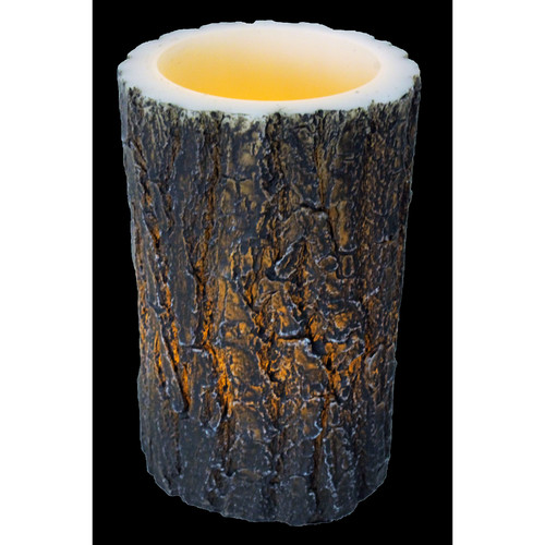 "River's Edge Products LED Tree Bark Candle, 4"" x 6"""