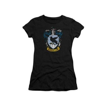 Juniors Black Short - Harry Potter Ravenclaw Crest Short Sleeve Junior Sheer Black