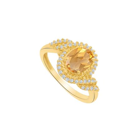 1.50 CT 18K Yellow Gold Vermeil Citrine Cubic Zirconia Swirl Engagement Ring, Size 6