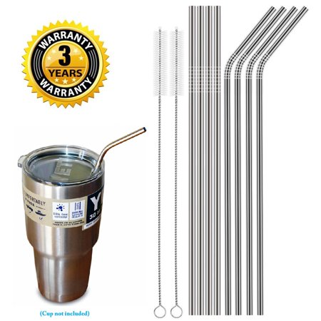 Set of 8 Stainless Steel Straws Ultra Long 10.5 Inch Drinking Metal Straws For Tumblers Rumblers Cold Beverage (4 Straight|4 Bent|2