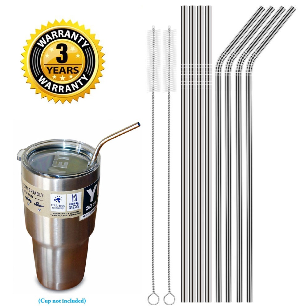 Set of 8 Stainless Steel Straws Ultra Long 10.5 Inch Drinking Metal Straws For Tumblers Rumblers Cold Beverage (4 Straight|4 Bent|2 Brushes)