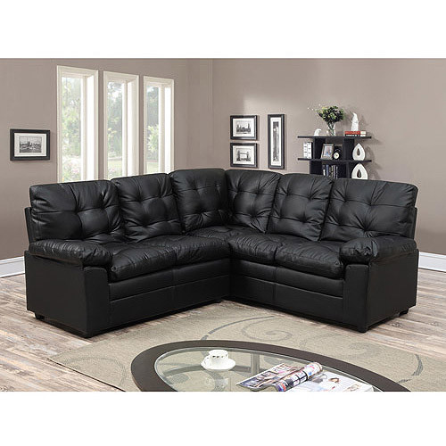 Buchannan Faux Leather Corner Sectional Sofa Black Walmart Com