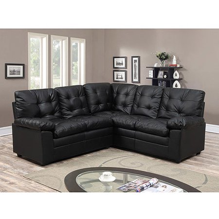 Buchannan faux leather corner sectional sofa black for Small spaces sectional sofa black faux leather