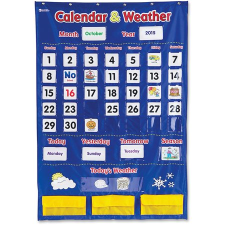 Learning Resources, LRNLER2418, Calendar/Weather Pocket Chart, 138 / Each, Multi for $<!---->