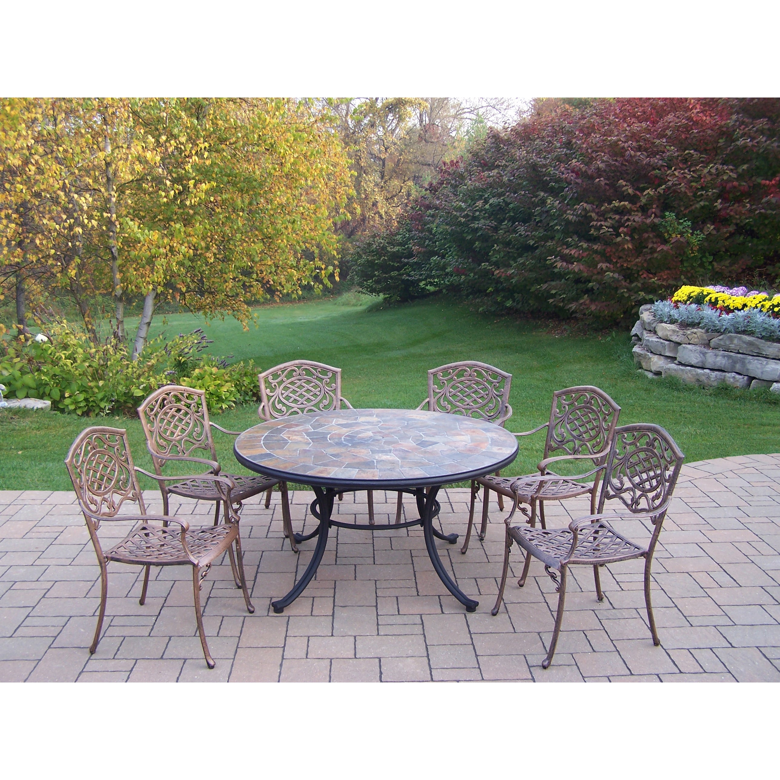 Oakland Living Corporation Dakota 7-Pc. Dining Set w/ Stone-Top Table, 6 Stackable Chairs