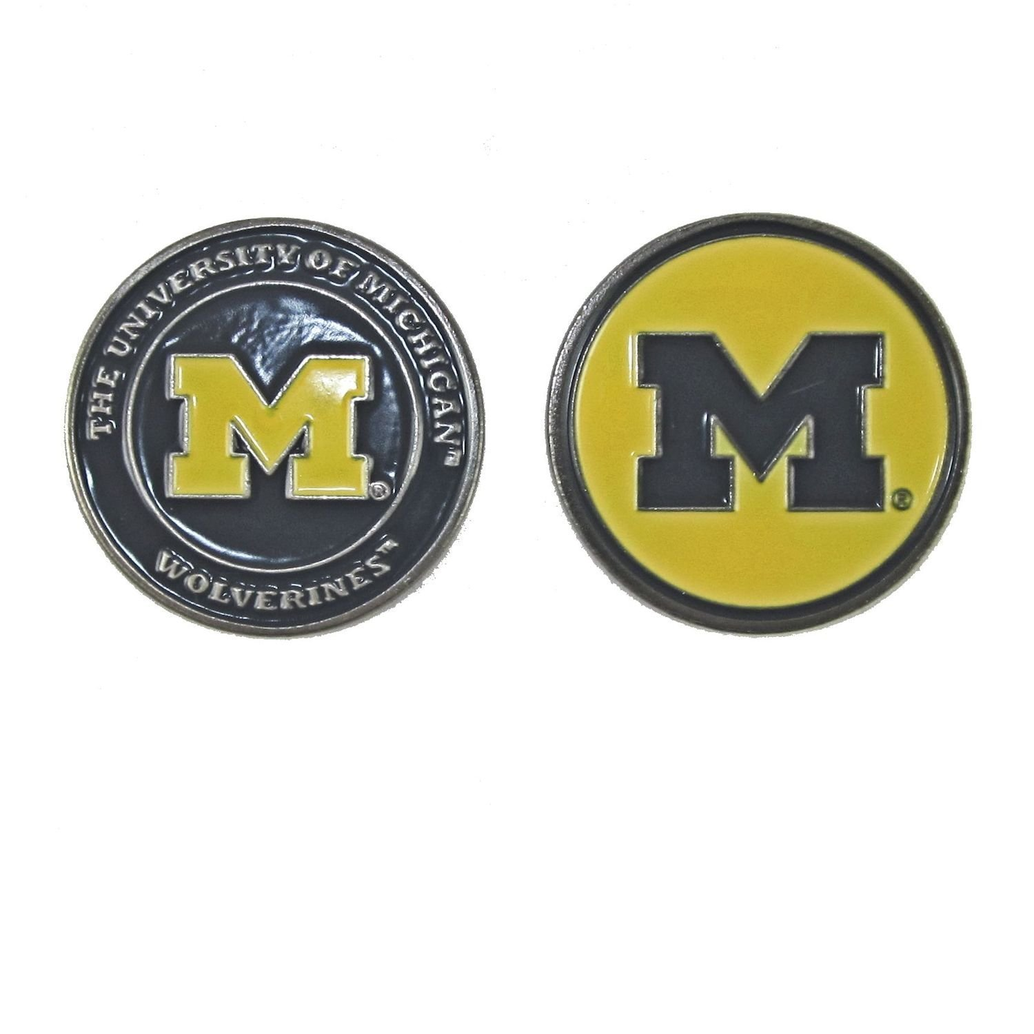 Michigan Wolverines NCAA Double-Sided Golf Ball Marker, 1 Team Logo Double Sided Ball Marker By Waggle Pro Shop,USA