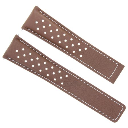 LEATHER WATCH STRAP DEPLOYMENT BUCKLE CLASP 19MM FOR TAG HEUER CARRERA TAN WS 4T