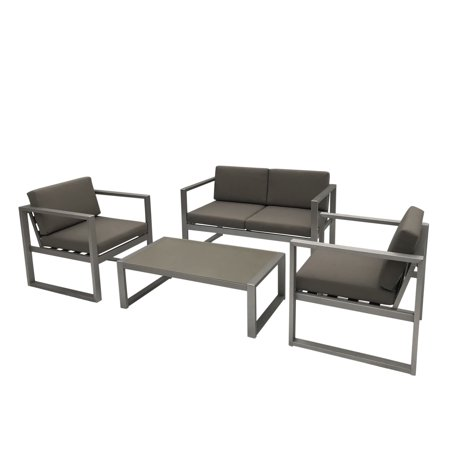 Aluminum 4 Piece - Noah Outdoor 4 Piece Rust-Proof Aluminum Chat Set with Weather Resistant Cushions, Silver and Khaki