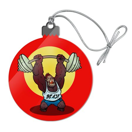 Gym Beast Lifting Weights Weightlifting Strength Training Acrylic Christmas Tree Holiday Ornament