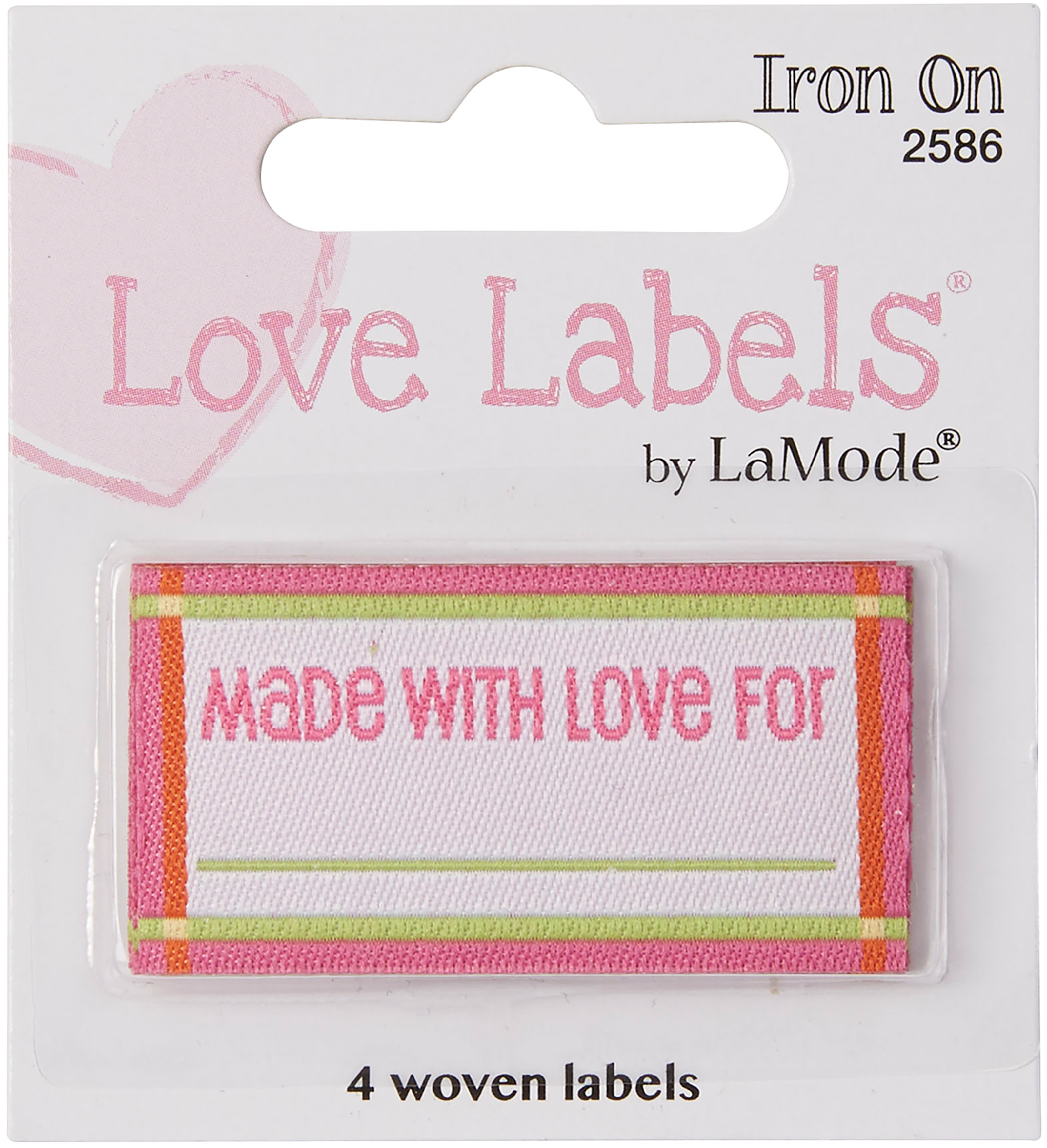 Iron-On Lovelabels 4/Pkg-Made With Love - Pink