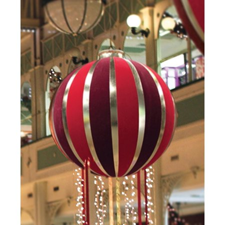 7.5' Huge Red & Gold Inflatable Christmas Ornament Commercial Display Decoration