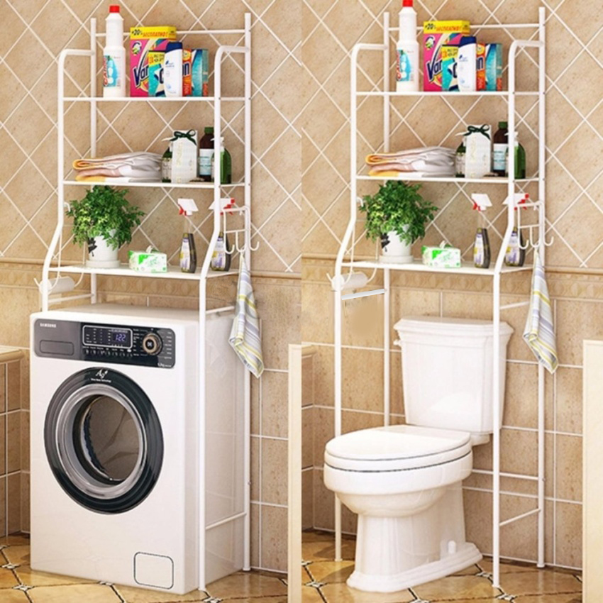 Toilet Shelf, 3 Tiers Mainstays Bathroom Space Saver Towel Organizer Over The Toilet Shelf Unit Large Storage Space Rack, White