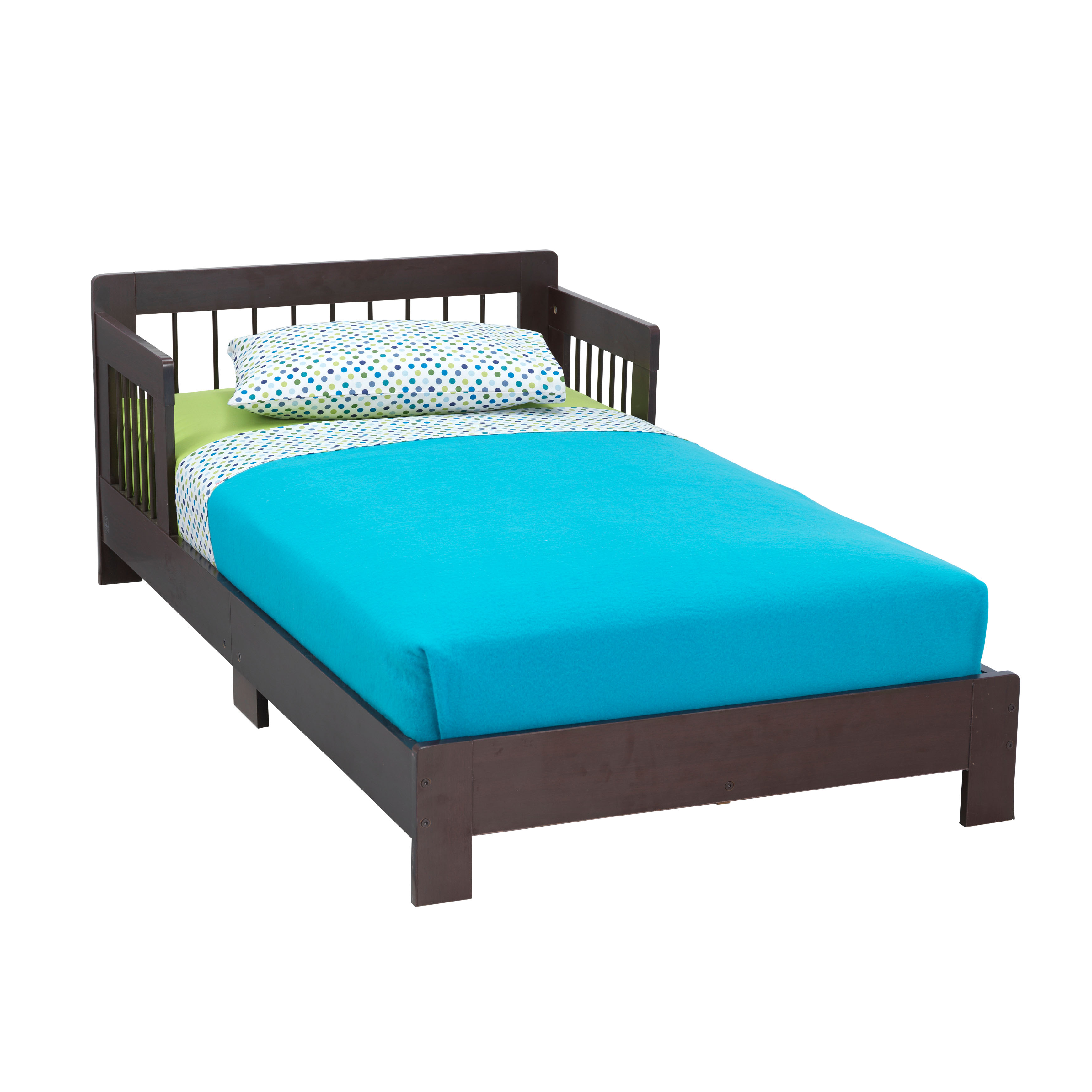 KidKraft Houston Wooden Toddler Bed with Side Rails and Spindle Headboard - Espresso