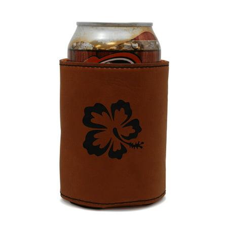 Hibiscus Leather Can Sleeve, Beer Sleeve, Beer Cooler, Beer Hugger