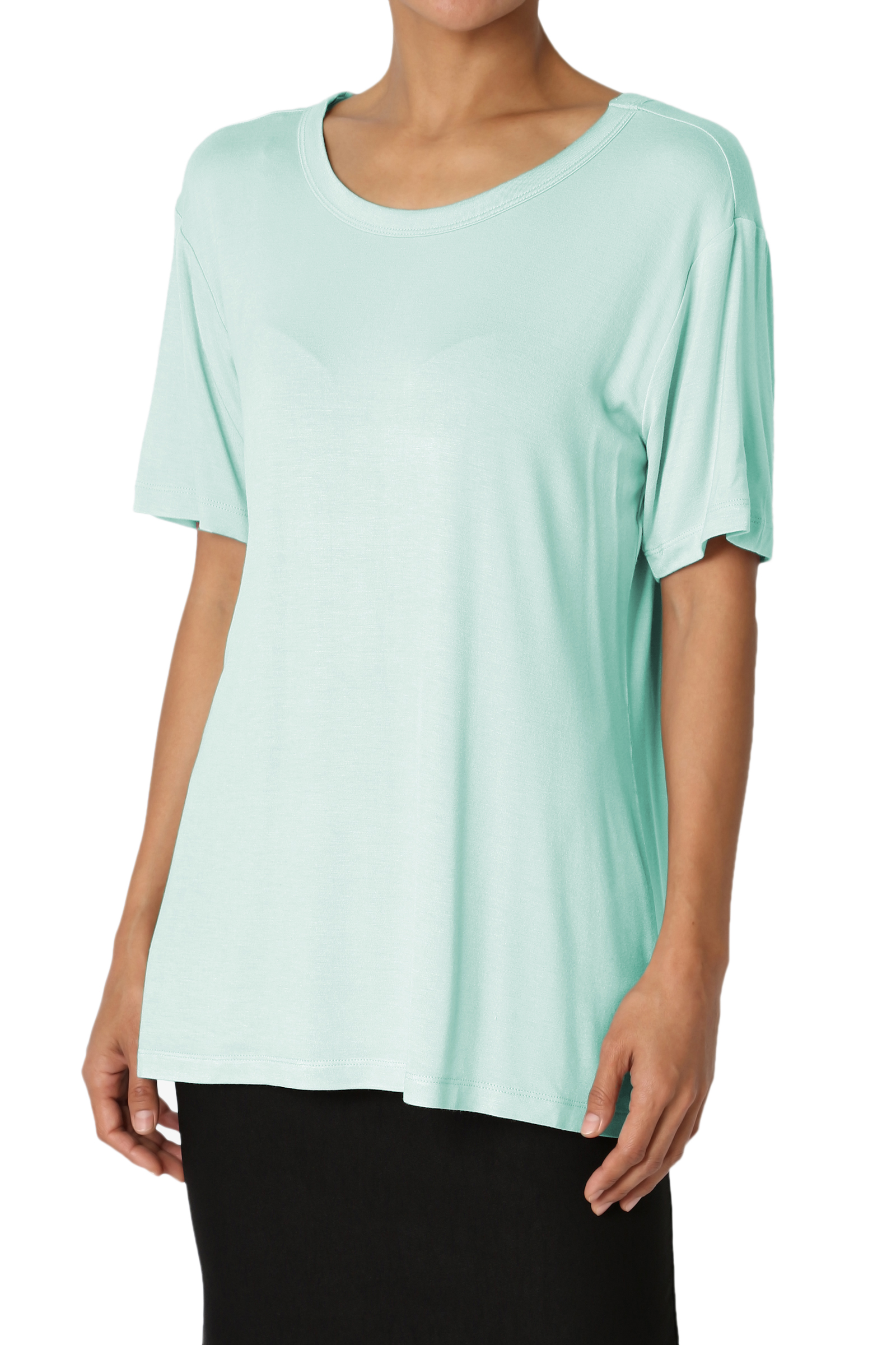 TheMogan Women's Loose Relaxed Fit Short Sleeve Jersey T-Shirts Dusty Mint L